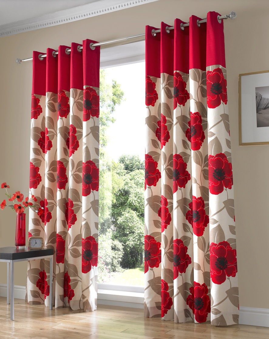 Harper Red Lined Curtain