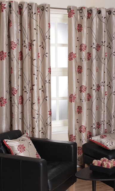 Milan Berry Eyelet Lined Curtains