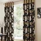 Harper black fully lined curtains